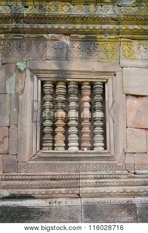 column in Phanom Rung stone castle in Thailand