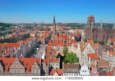 Top View On Gdansk (danzig) old Town In Poland