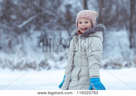 Small The Girl On A Winter Skating Rink Wriggles