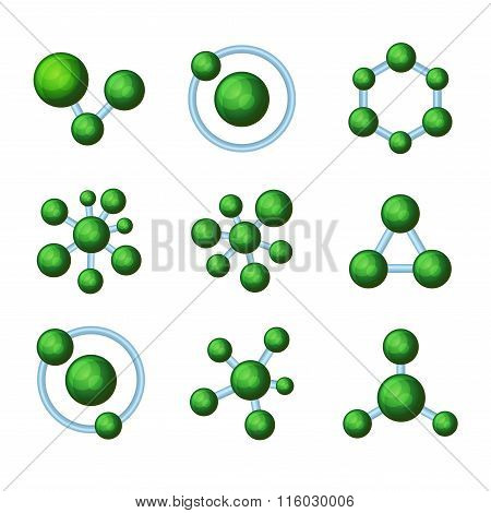 Abstract Green Molecules Icon Set on White Background. Vector