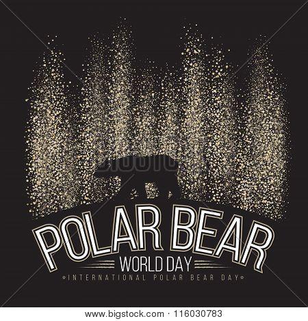 Polar bear on the background of the northern lights. International day of polar bear. Vector illustr