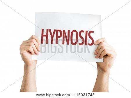 Hypnosis placard isolated on white
