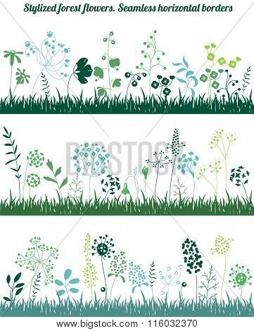 Seamless horizontal borders with stylized growing plants. Elegant silhouette. Endless textures for your design, romantic greeting cards, announcements, posters.