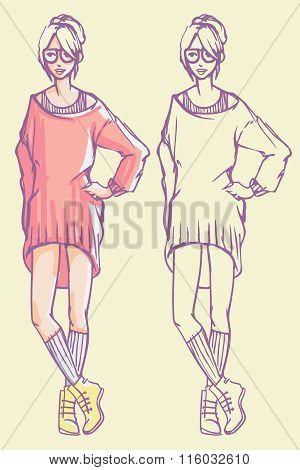 Hipster Girl Fashion Illustration