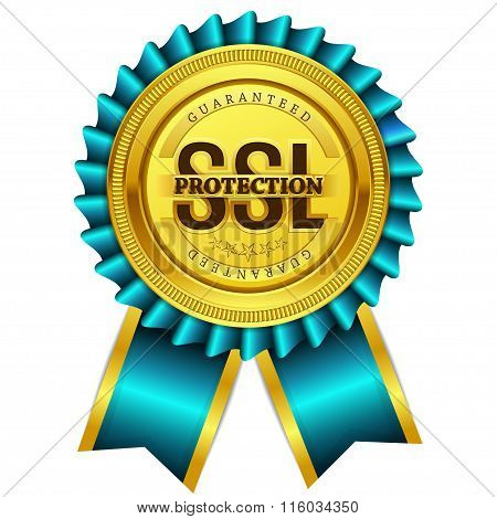 Ssl Protected Golden Vector Icon Button