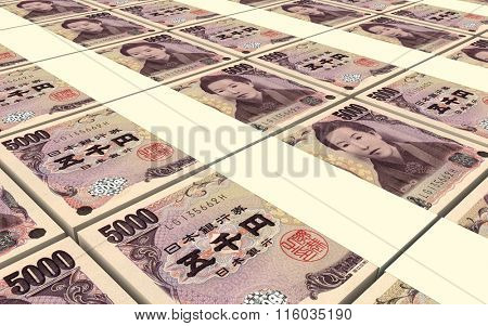Japanese yen bills stacks background. Computer generated 3D photo rendering.