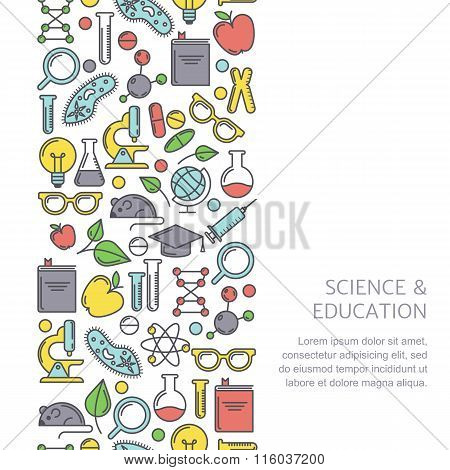 Vector Seamless Vertical Pattern With Flat Illustrations Of Science, Education And Research Tools.