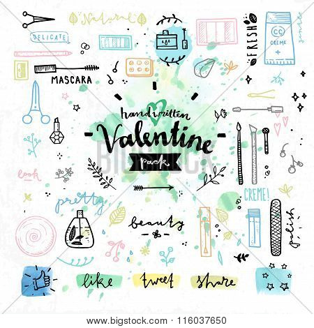 Beauty Cosmetics Valentines Day Vector Graphics