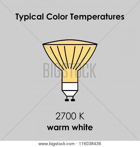 Halogen Light Yellow Bulb. Vector Illustration.