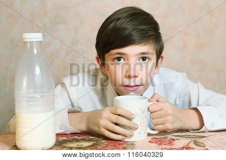 Preteen Handsome Boy Drink Milk