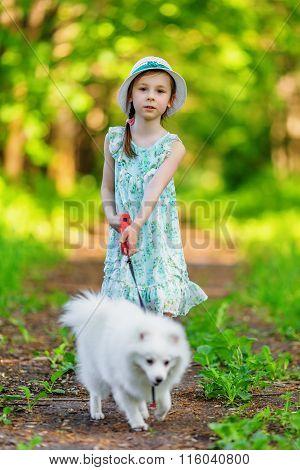 Little Girl With White Pomeranian Spitz