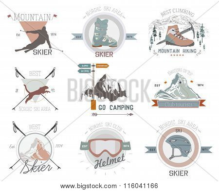 Ski sport logo icon template. Ski, skier silhouette. Ski jumping, winter sports logo template