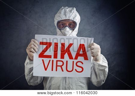 Zika Virus Concept, Medical Worker In Protective Clothes