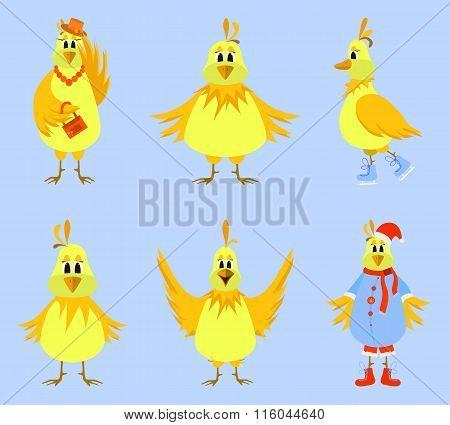 Cute cartoon yellow birds. Vector illustration.