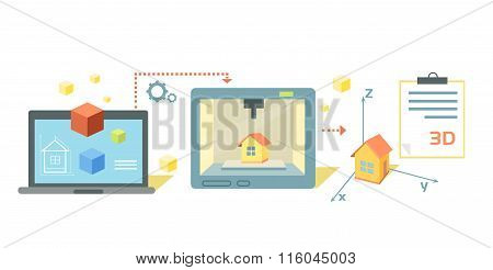 Printer Technology Icon Flat Design
