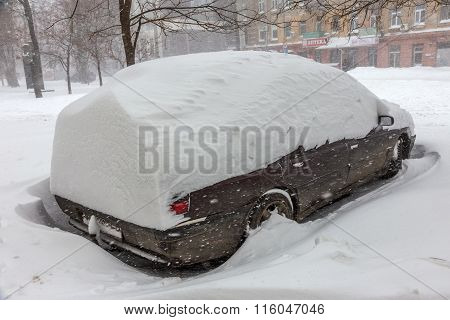 Odessa, Ukraine - January 18, 2016: A Powerful Cyclone, Storm, Heavy Snow Paralyzed The City. Winter