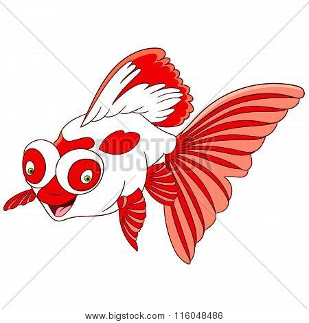 cute lovely and happy smiling cartoon telescope goldfish with big and globe eyes isolated on a white background poster