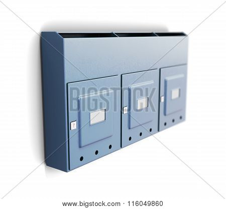 Several iron mailboxes on a white background. 3d rendering