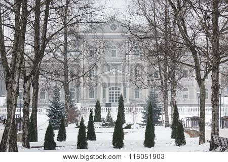 Building In A Park At Winter Time