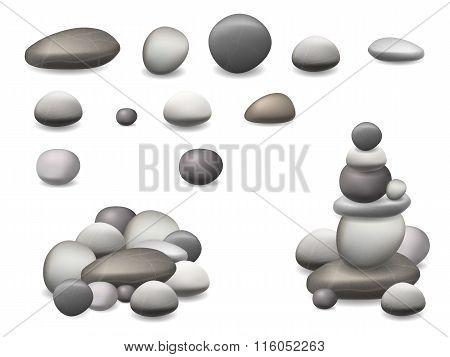 Stone Pebbles Set Isolated