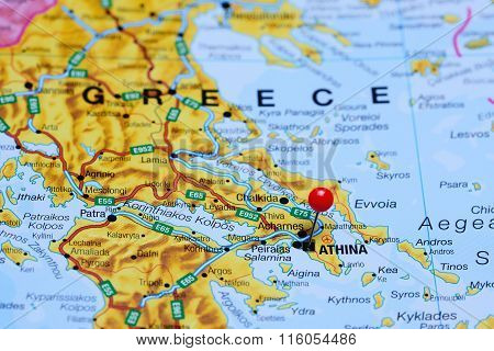 Athens pinned on a map of Greece