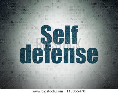 Security concept: Self Defense on Digital Paper background