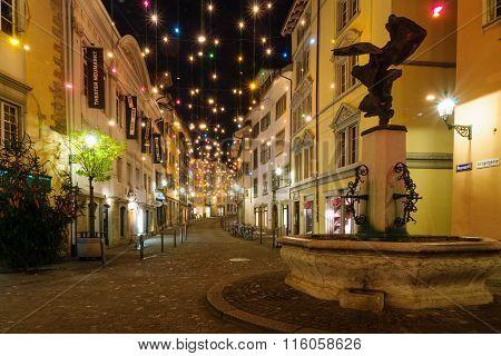 Street At Christmas, Zurich