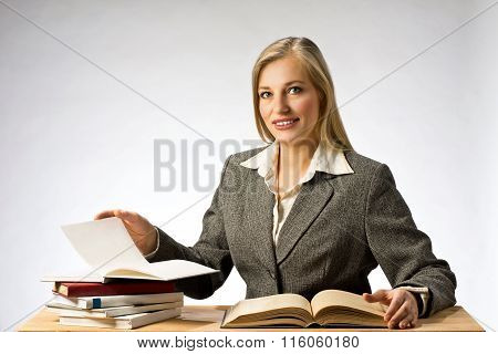 Business woman reading books.