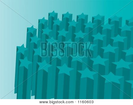 a abstract 3d star background in green poster