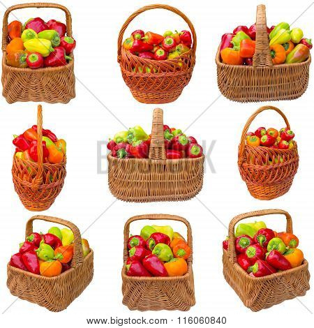 Basket With Paprika On A White Background.