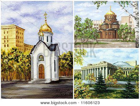 Russia, Novosibirsk, buildings