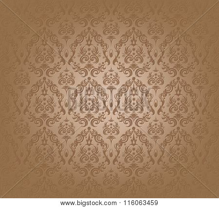 Vector illustration of brown wallpaper pattern