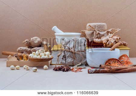 Alternative Health Care Dried Various Chinese Herbs In Wooden Box Lotus Seed  In Wooden Spoon On Med