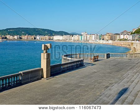 Concha Bay From Kontxa Pasalekua Balcony. San Sebastian, Guipuzcoa. Spain