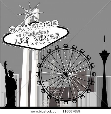 Black and white vegas featuring the High Roller Ferris  Wheel
