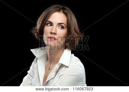 Sexy Female Model White Shirt Looking Off Distance