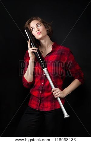 Model Red Flannel Shirt Hugging Baseball Bat