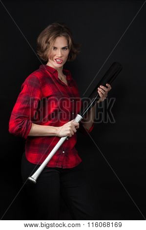Model Red Flannel Shirt Scowling With Bat