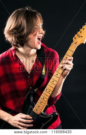 Model Red Flannel Shirt Mouth Open Electric Guitar