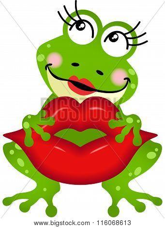 Frog girl holding lips