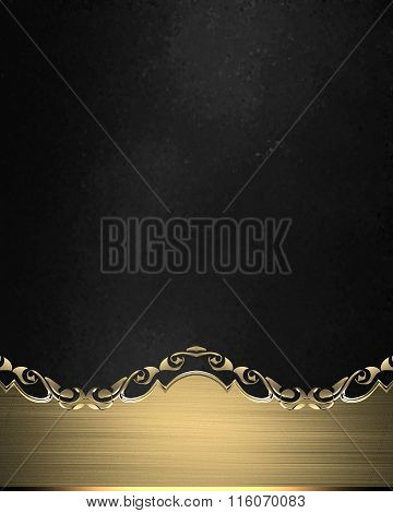 Grunge Gold Nameplate With Gold Edges On Black Texture. Element For Design. Template For Design. Cop