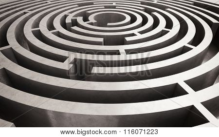 Image of difficult circular maze to solve poster