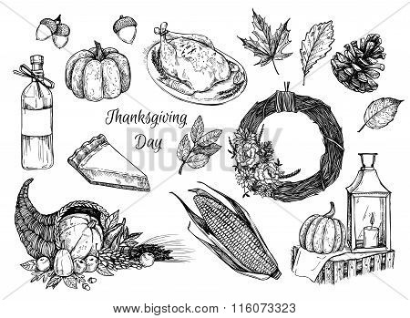 Hand Drawn Vector Illustration - Thanksgiving Day. Design Elements For Invitations, Greeting Cards,