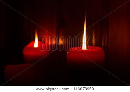 Burning Red Candles