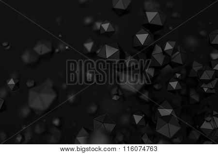 Abstract Rendering of Low Poly Chaotic Particles.
