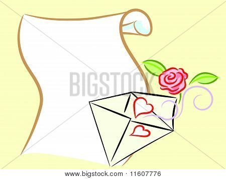 Postal Envelope With Hearts And Rose