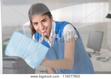 Happy Female Worker Cleaning Glass Window With Rag