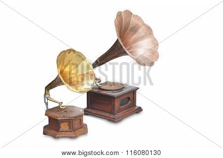 Vintage phonograph record player gramophone isolated on white background.