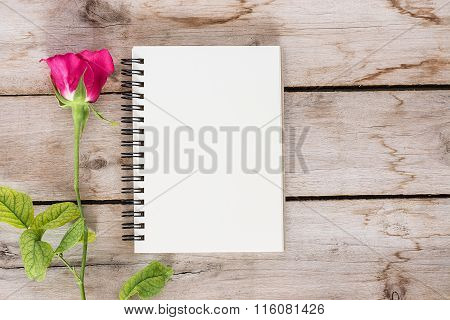 Red Rose Flower And Vintage Book On The Wooden, Valentine's Day For Background