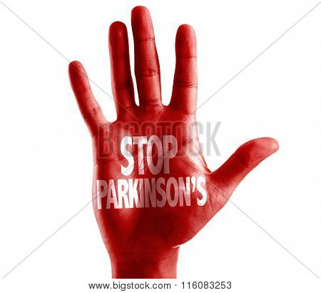 Stop Parkinson's written on hand isolated on white background